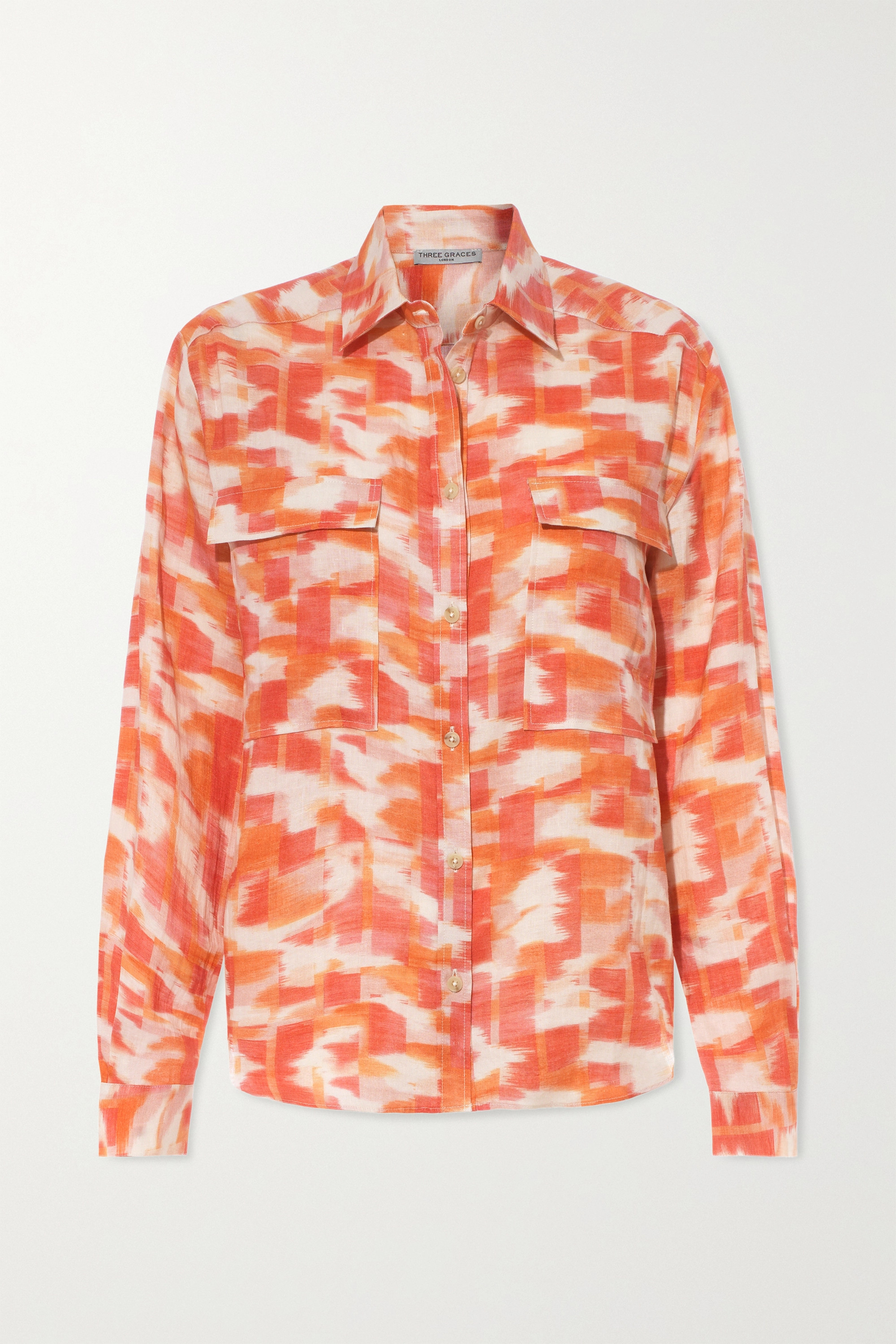 Three Graces London Willow printed linen shirt