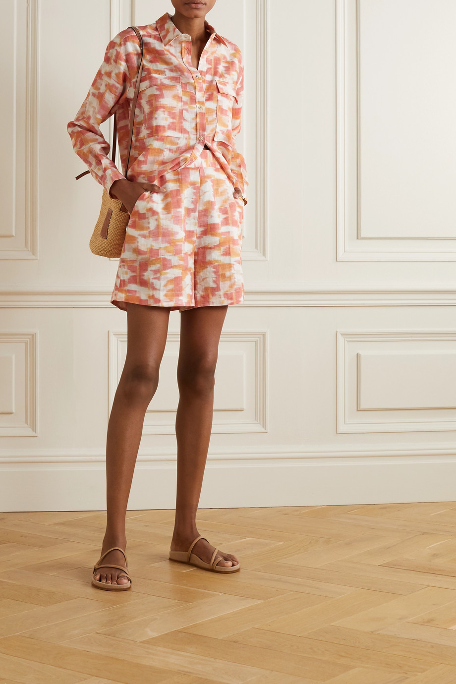 Three Graces London Robin printed linen shorts