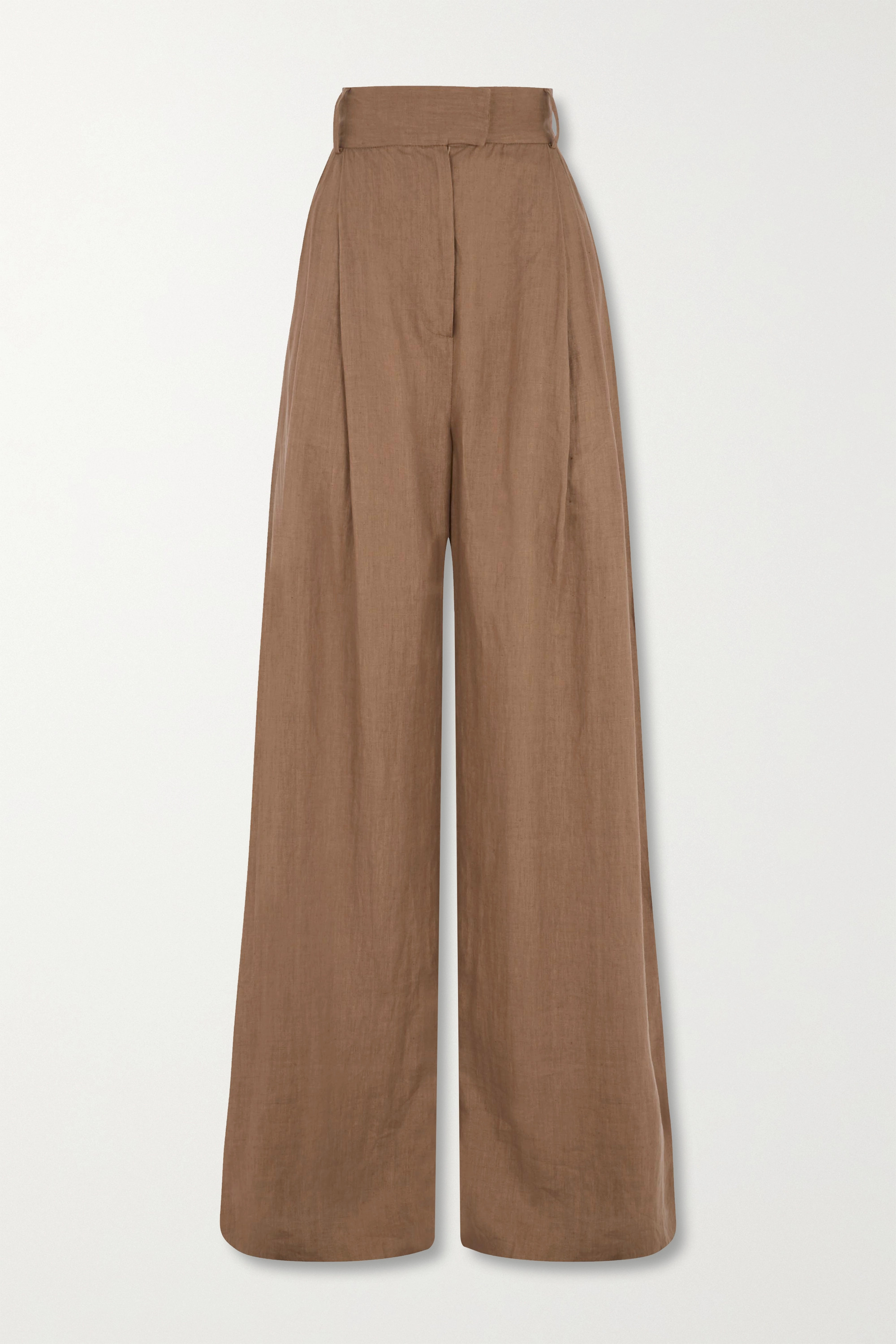 Three Graces London Molly pleated linen wide-leg pants