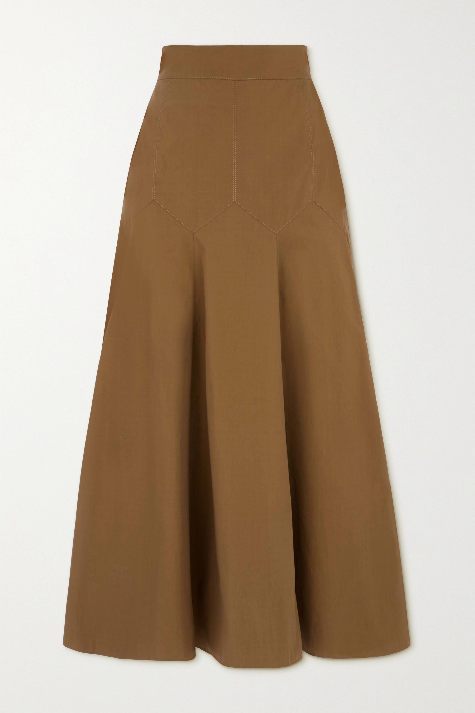 Three Graces London Aria cotton-poplin midi skirt