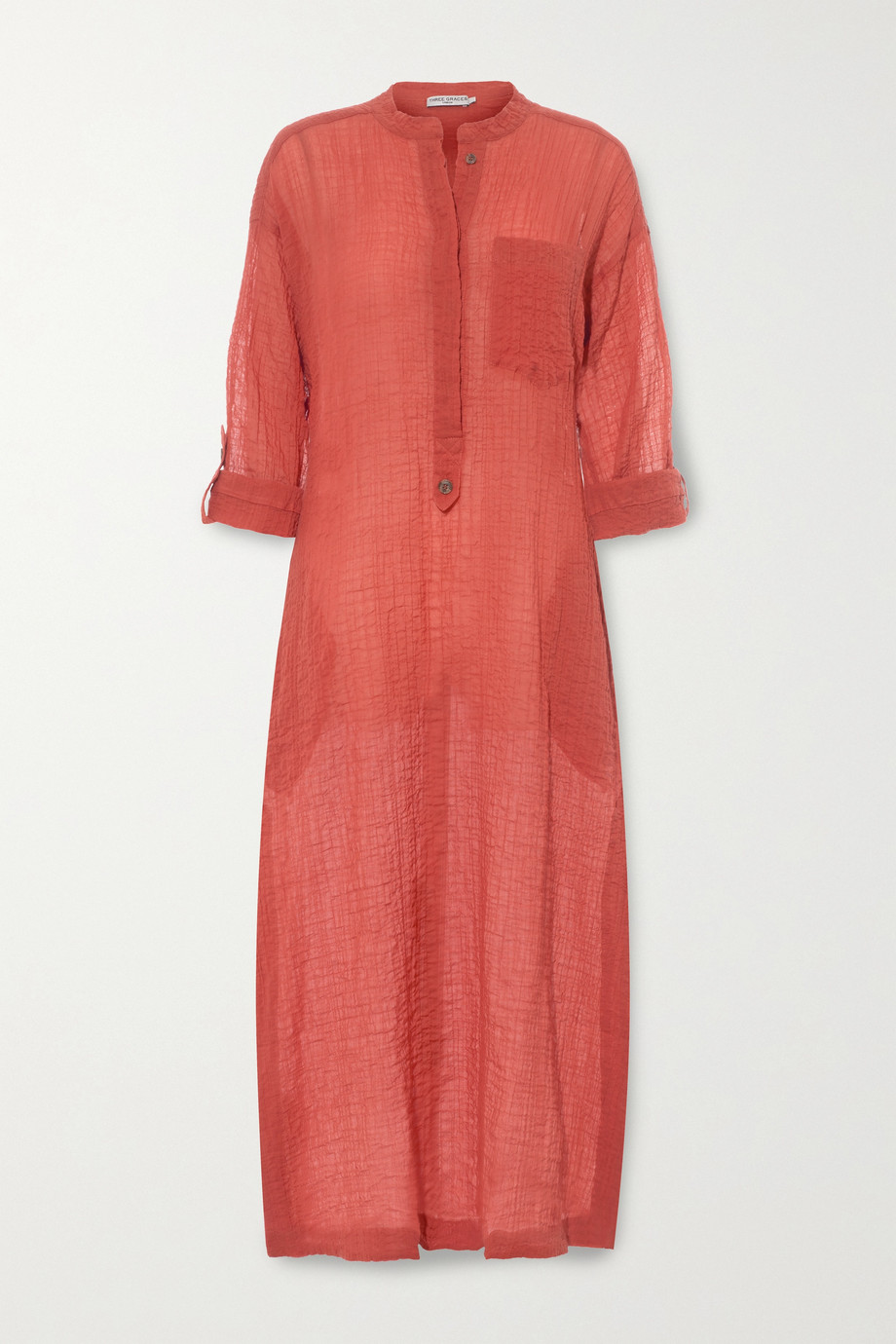 Three Graces London August crinkled cotton-voile kaftan