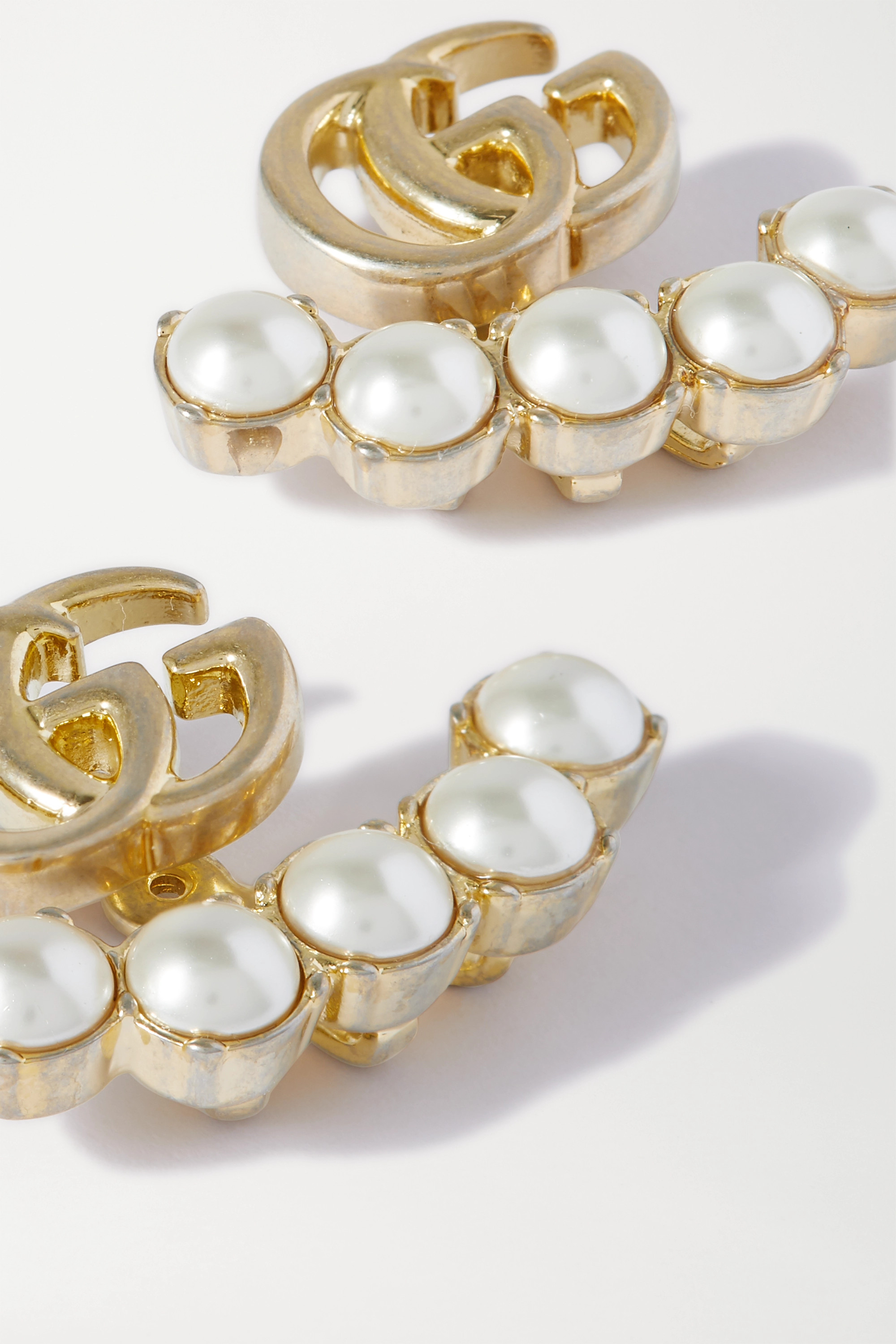 Gucci Gold-tone faux pearl earrings