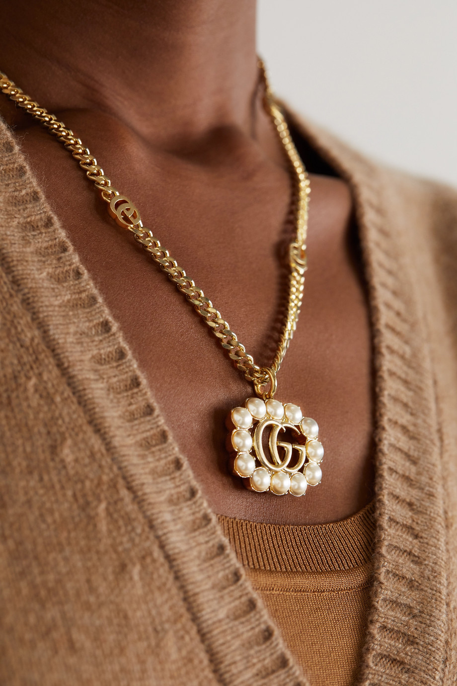 Gucci Gold-tone faux pearl necklace