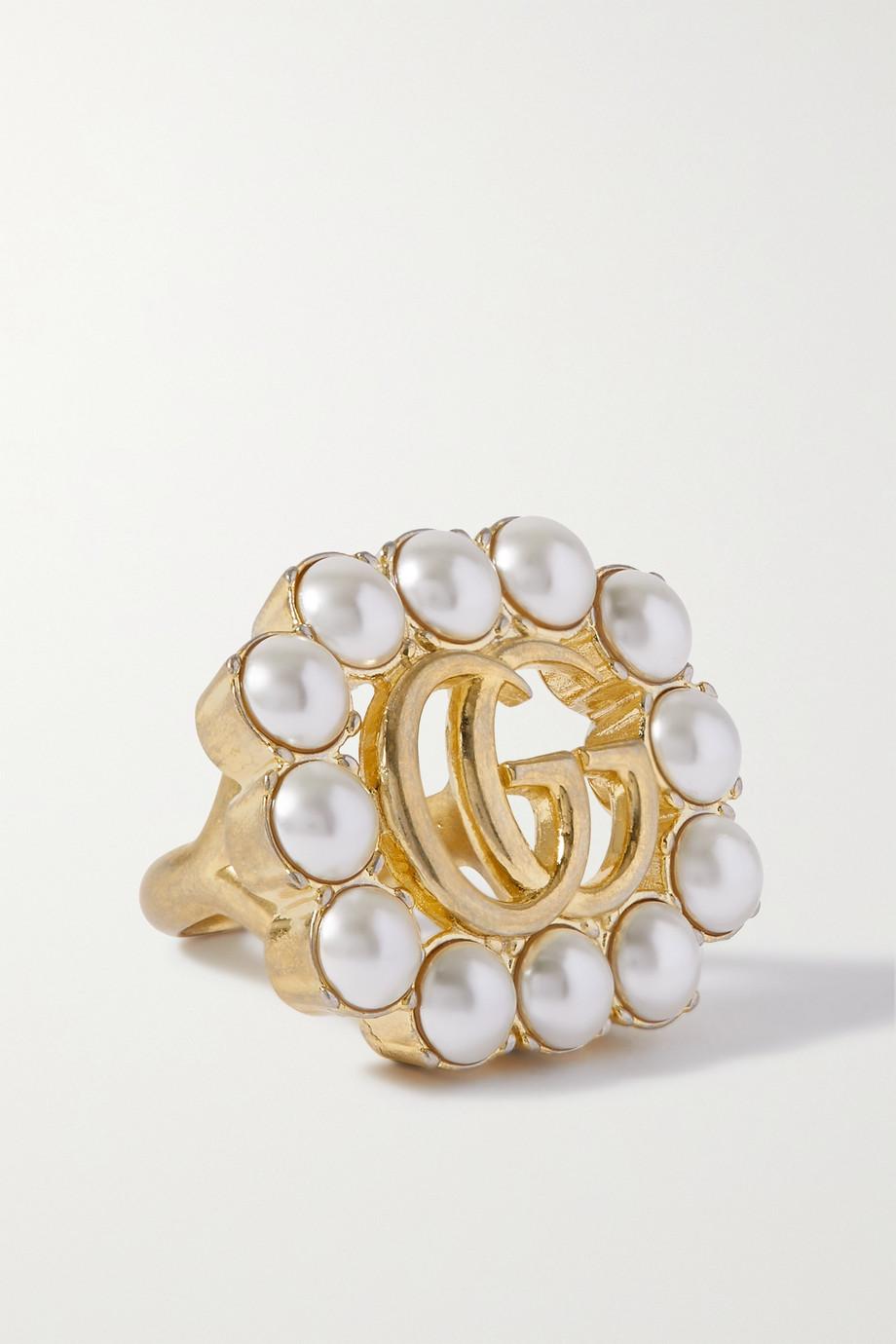 Gucci GG Marmont 人造珍珠金色戒指