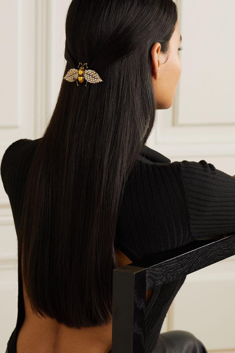 Gucci Goldfarbene Haarspange mit Kristallen