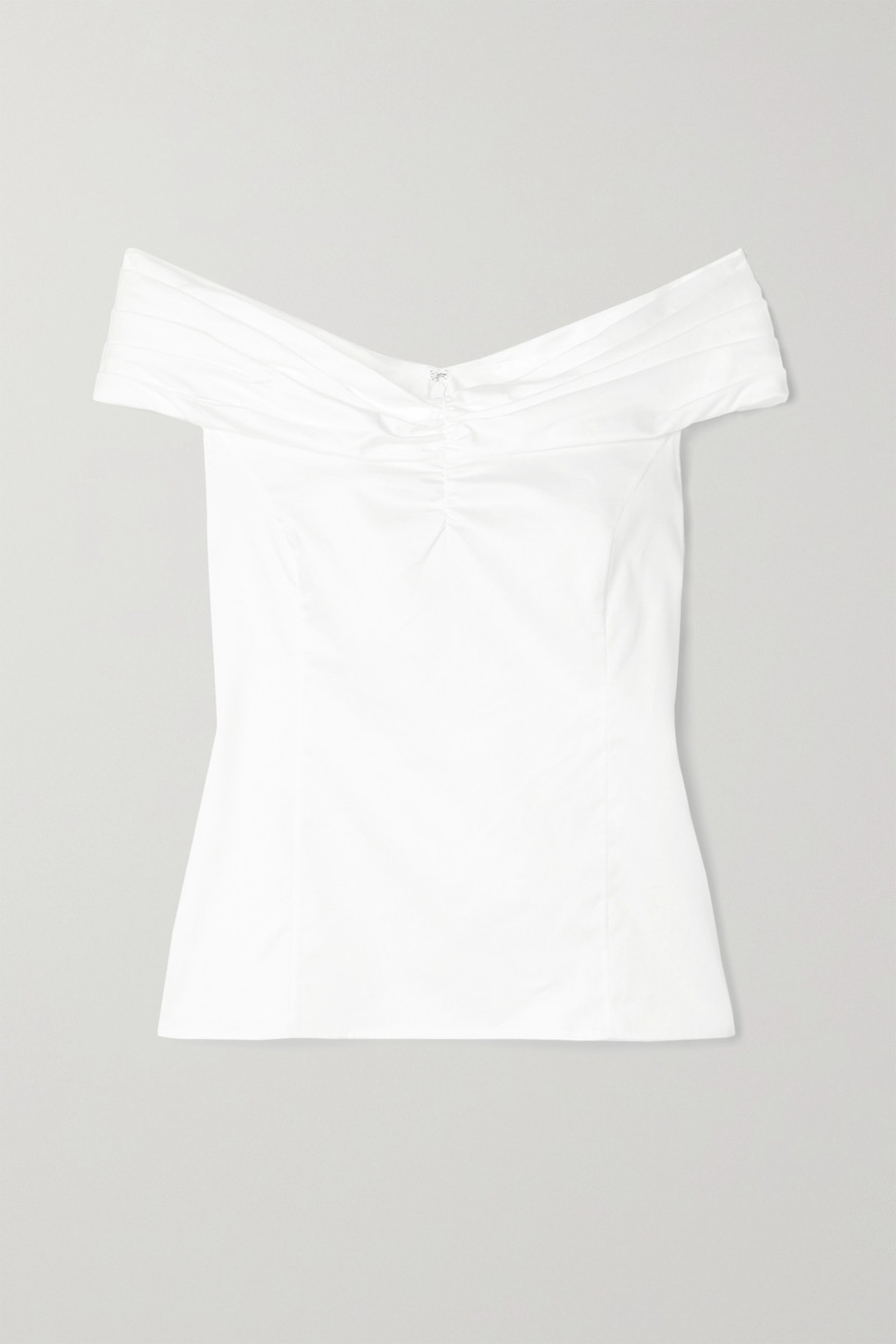 Jason Wu Collection Off-the-shoulder ruched cotton-poplin top
