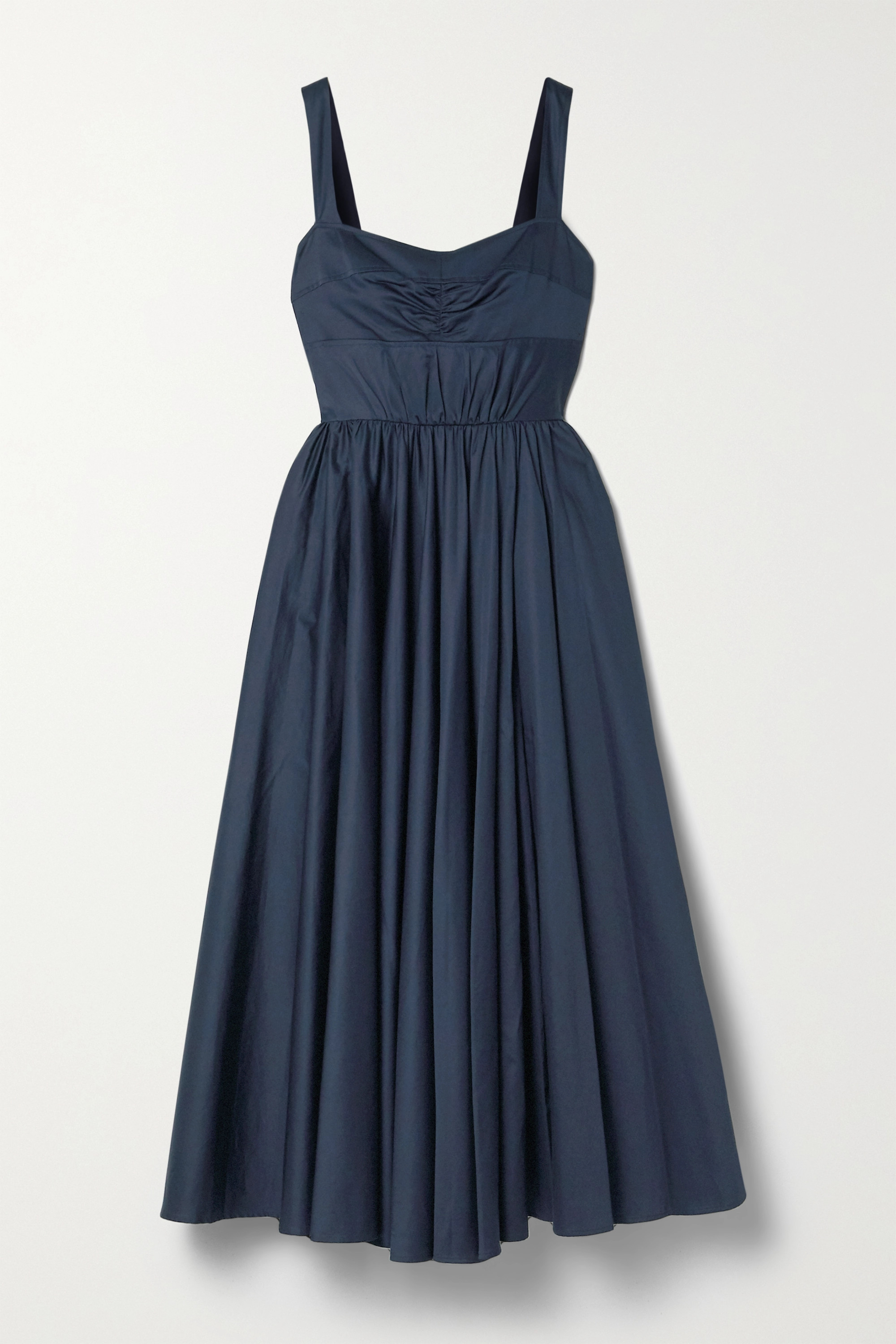 Midnight Blue Gathered Cotton Sateen Midi Dress Jason Wu Collection Net A Porter