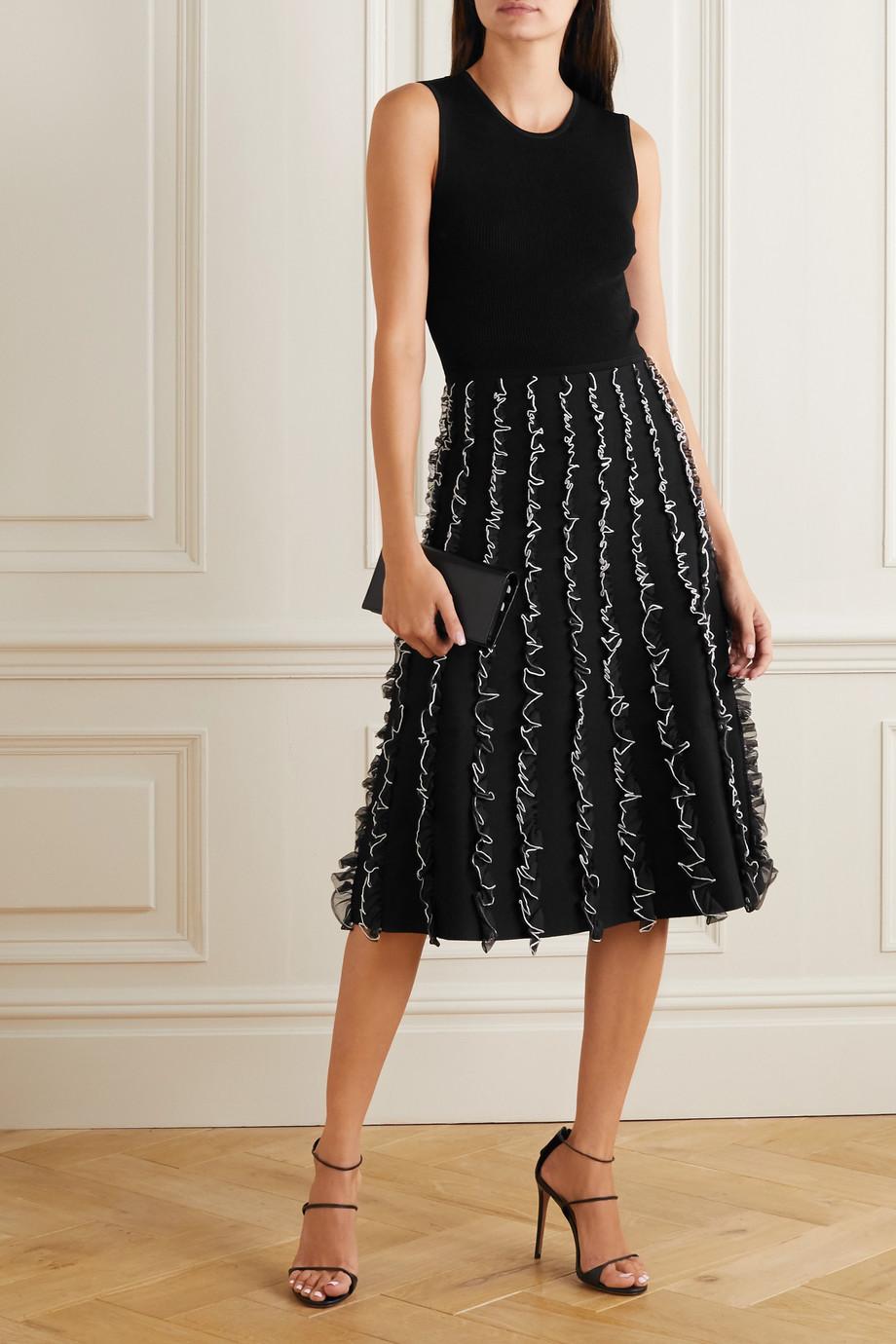 Jason Wu Collection Two-tone ruffled stretch-knit midi dress