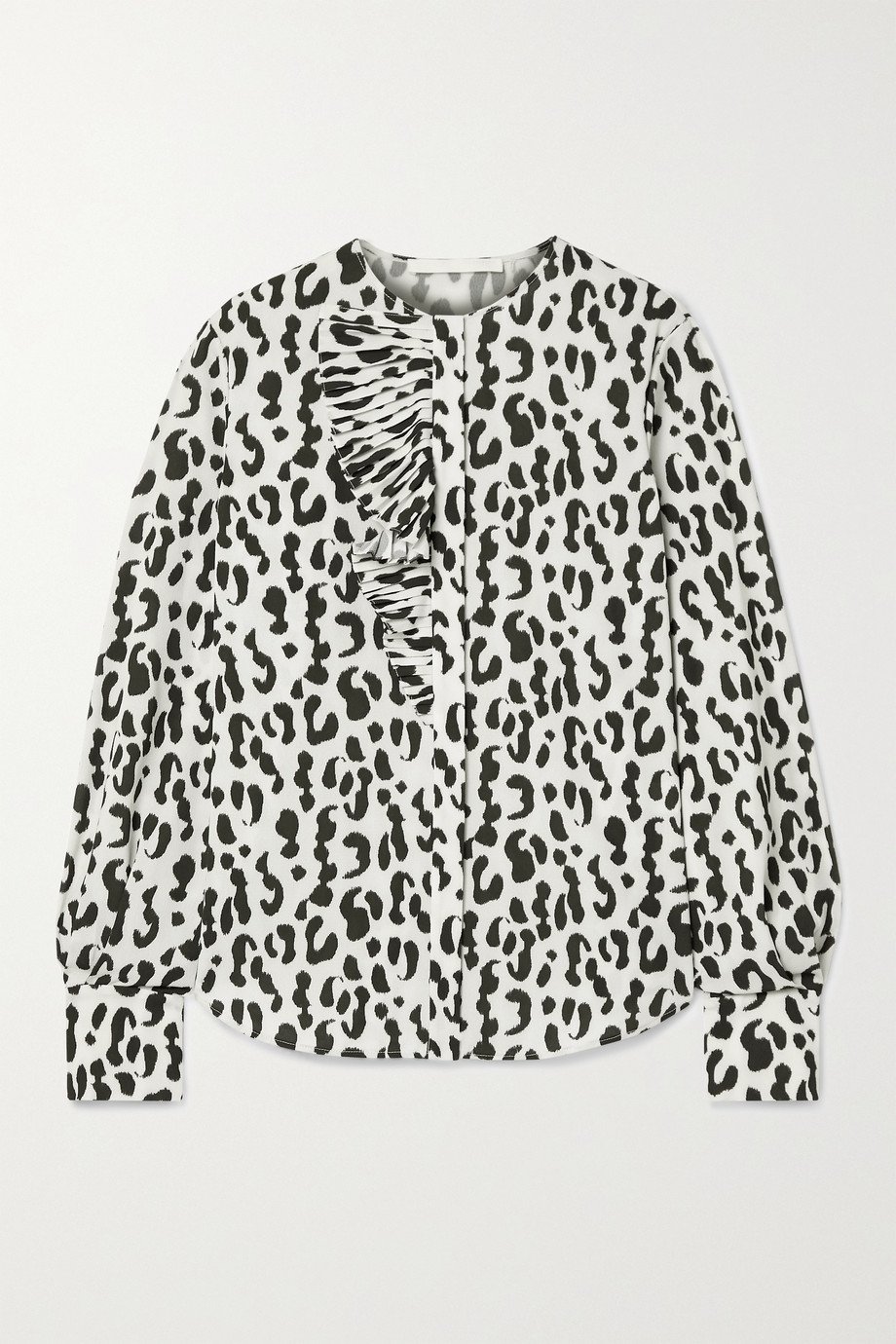 Jason Wu Collection Ruffled leopard-print stretch-crepe blouse