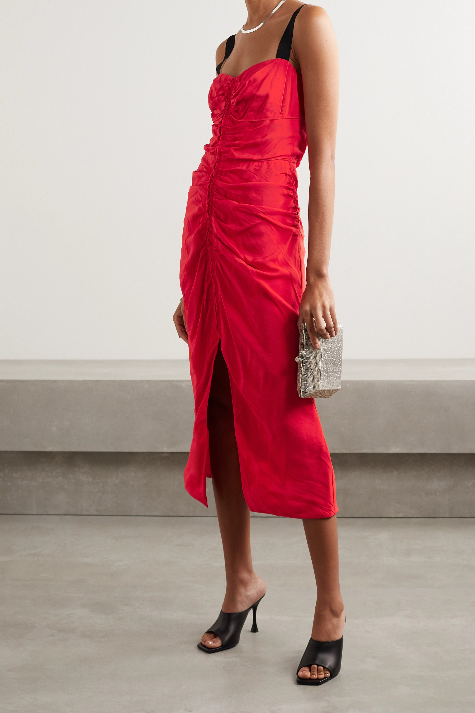 Jason Wu Collection Grosgrain-trimmed gathered taffeta midi dress