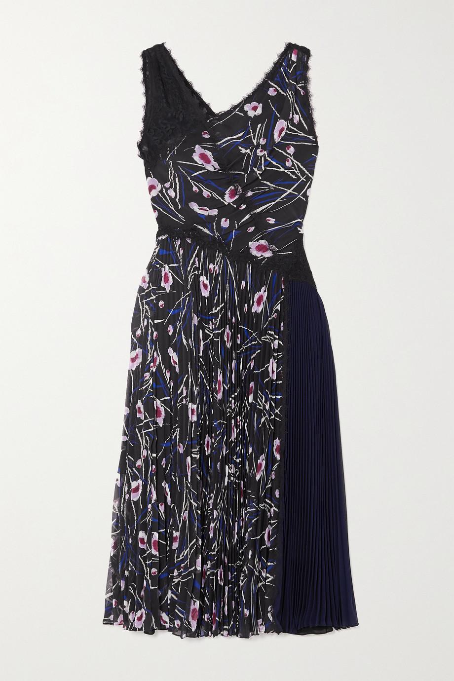 Jason Wu Collection Paneled floral-print chiffon, crepe and lace midi dress