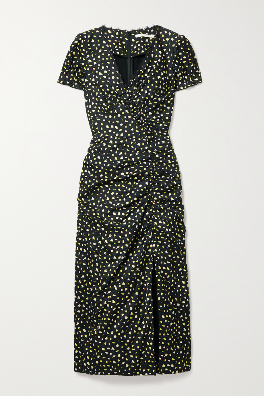 Jason Wu Collection Lace-trimmed gathered floral-print crinkled-satin midi dress