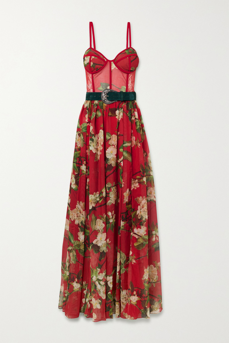PatBO Belted floral-print chiffon and lace maxi dress