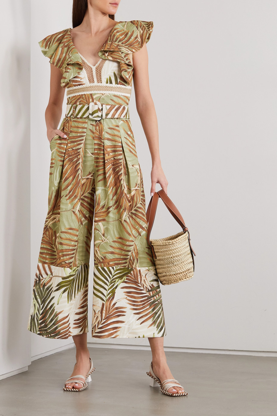 PatBO Palmeira belted printed woven jumpsuit