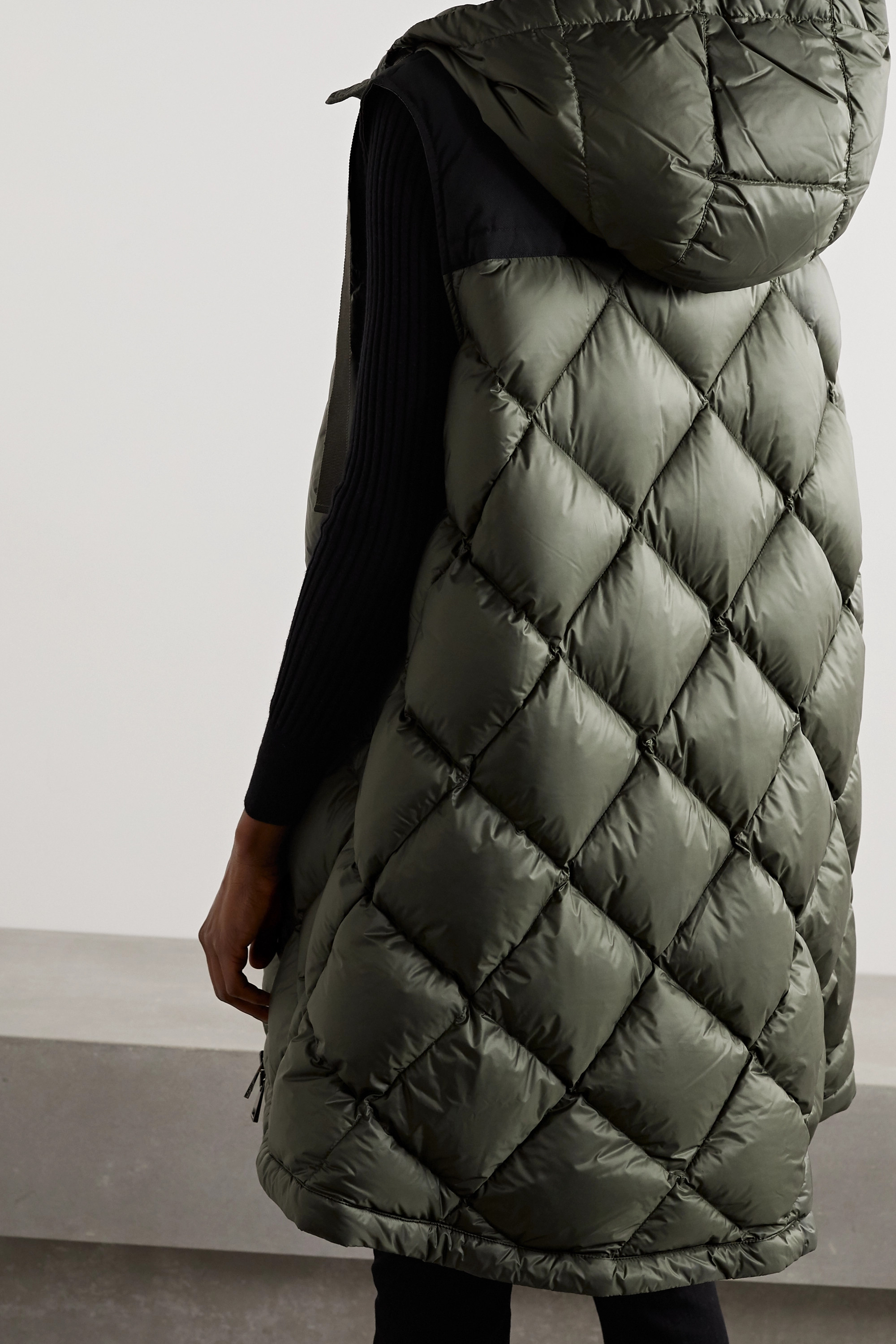 Moncler Ducos hooded canvas-trimmed quilted shell down vest