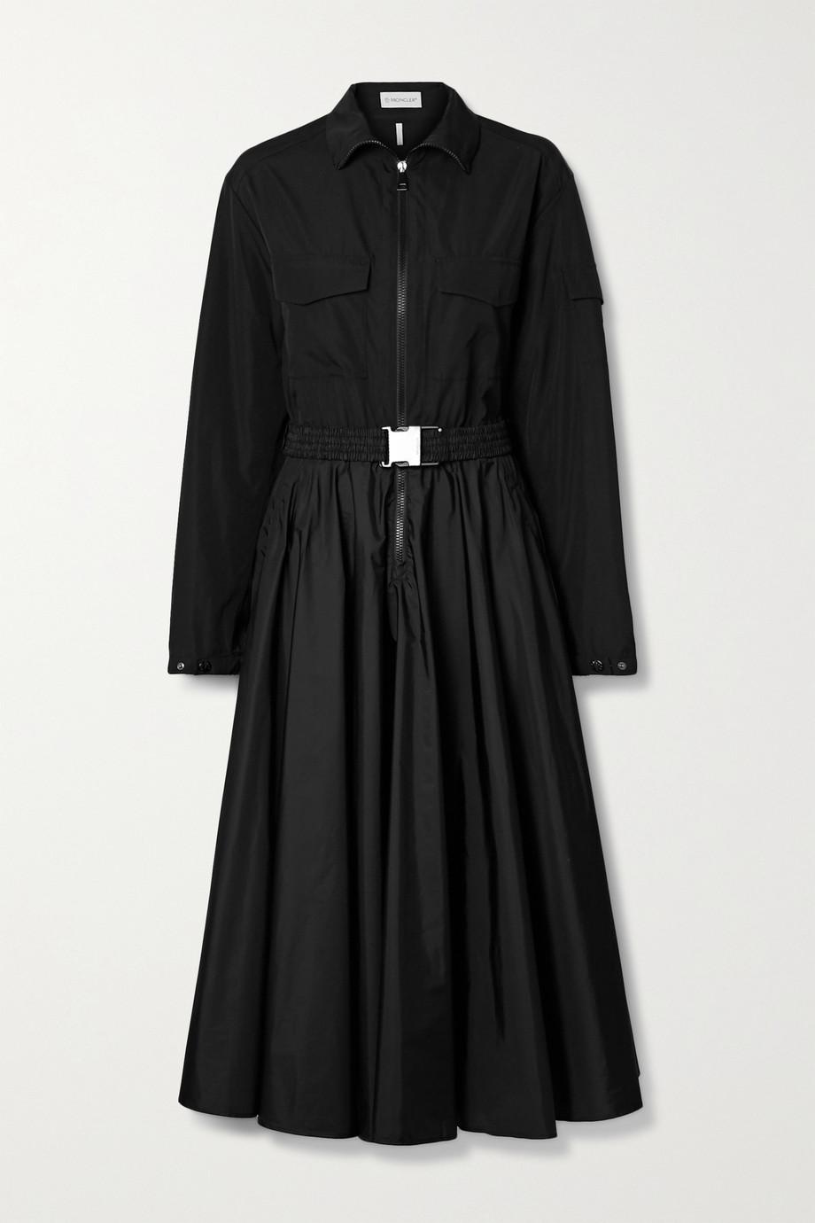 Moncler Robe midi en tissu technique à fronces et à ceinture