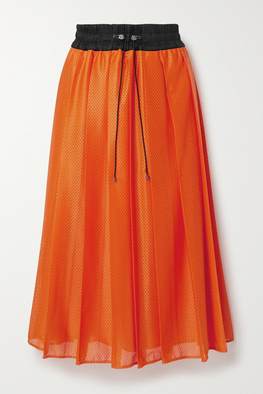 Moncler Shell-trimmed pleated mesh midi skirt