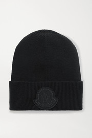 Moncler Appliquéd wool and cashmere-blend beanie