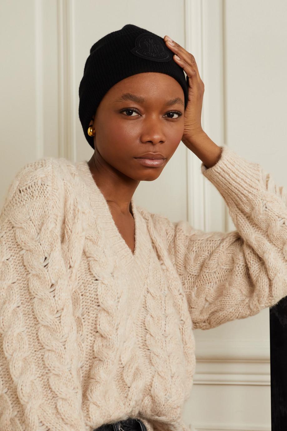 Moncler Appliquéd wool and cashmere-blend beanie