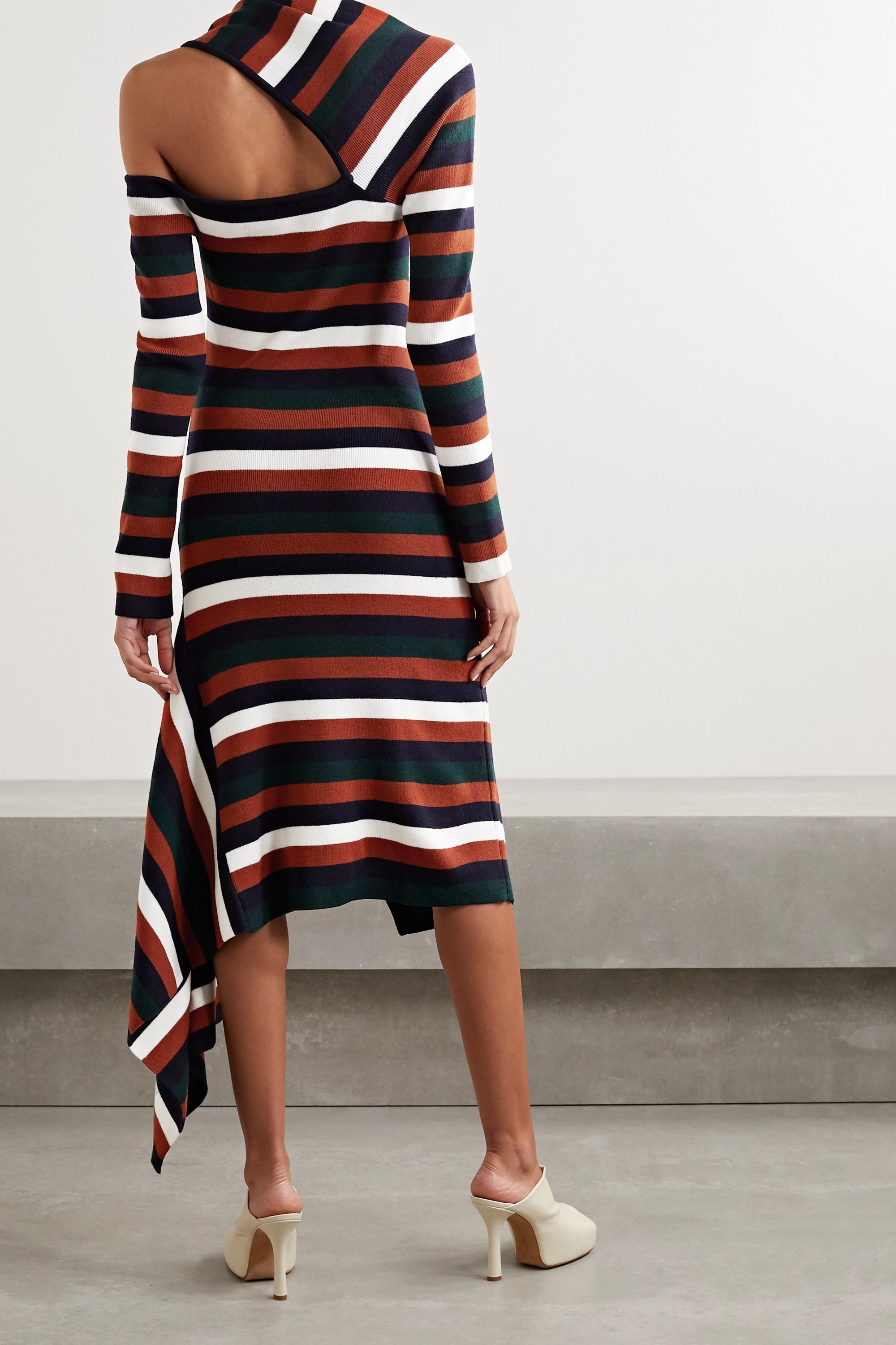 Monse Asymmetric cutout striped wool-blend midi dress
