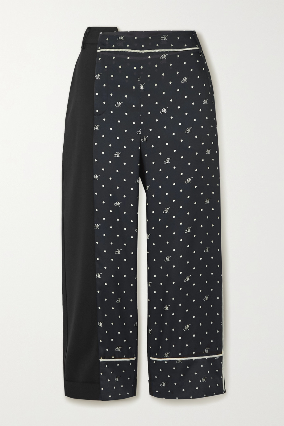 Monse Paneled polka-dot satin-twill and stretch-wool pants