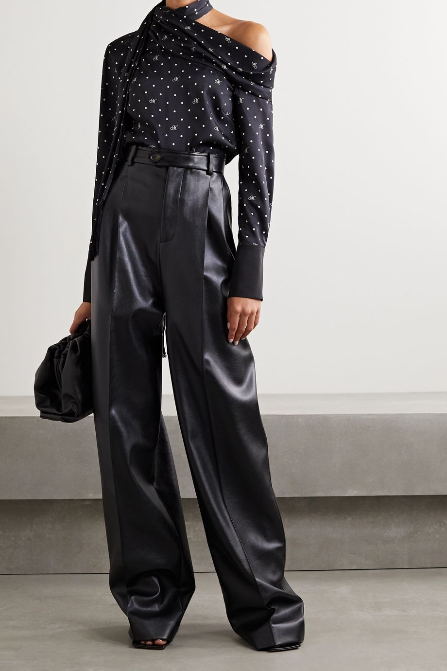 Monse One-shoulder fringed polka-dot satin-twill blouse