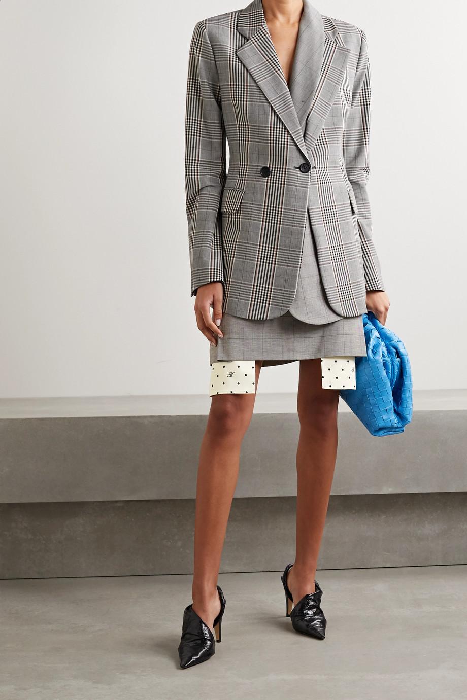Monse Checked wool-blend mini skirt