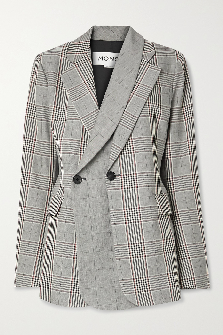 Monse Layered double-breasted Prince of Wales checked wool-blend blazer
