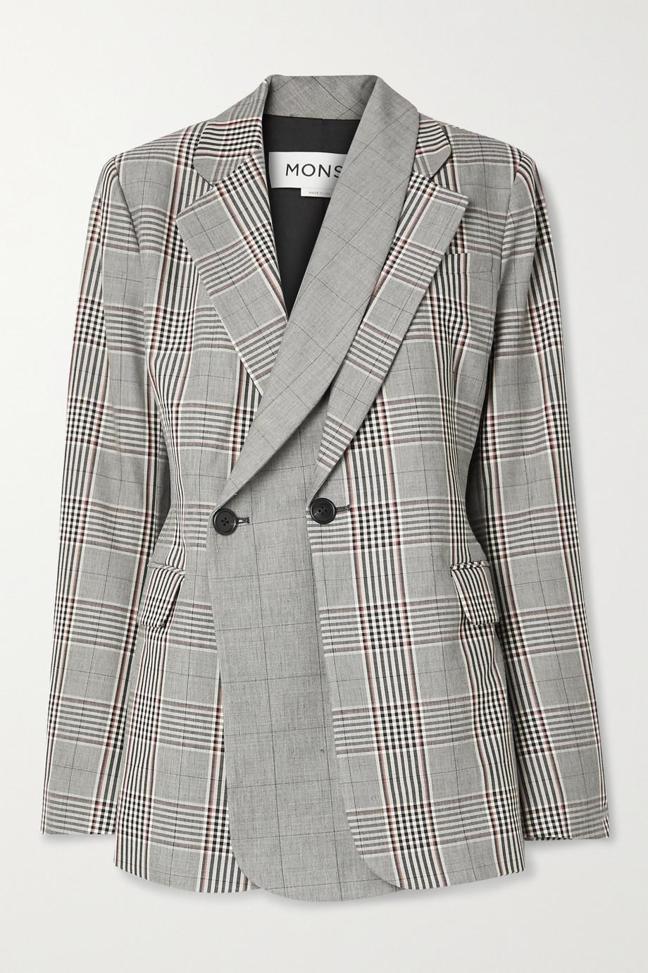 Monse 分层式双排扣威尔士亲王格纹羊毛混纺西装外套
