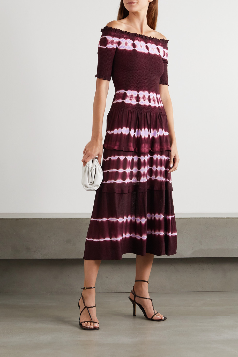 Altuzarra Ayaka off-the-shoulder smocked tie-dyed knitted midi dress