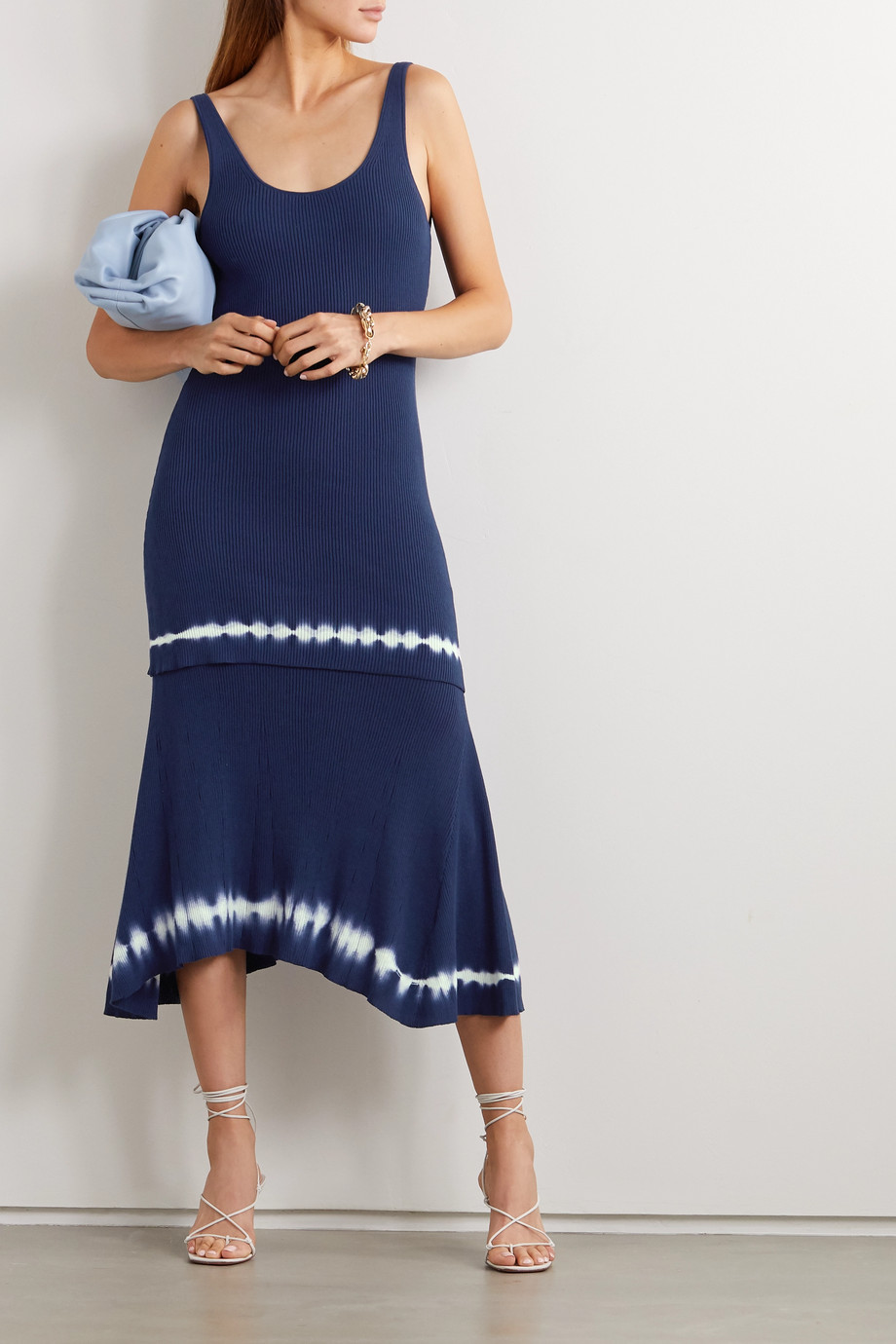 Altuzarra Shinobu layered tie-dyed ribbed Pima cotton-jersey midi dress