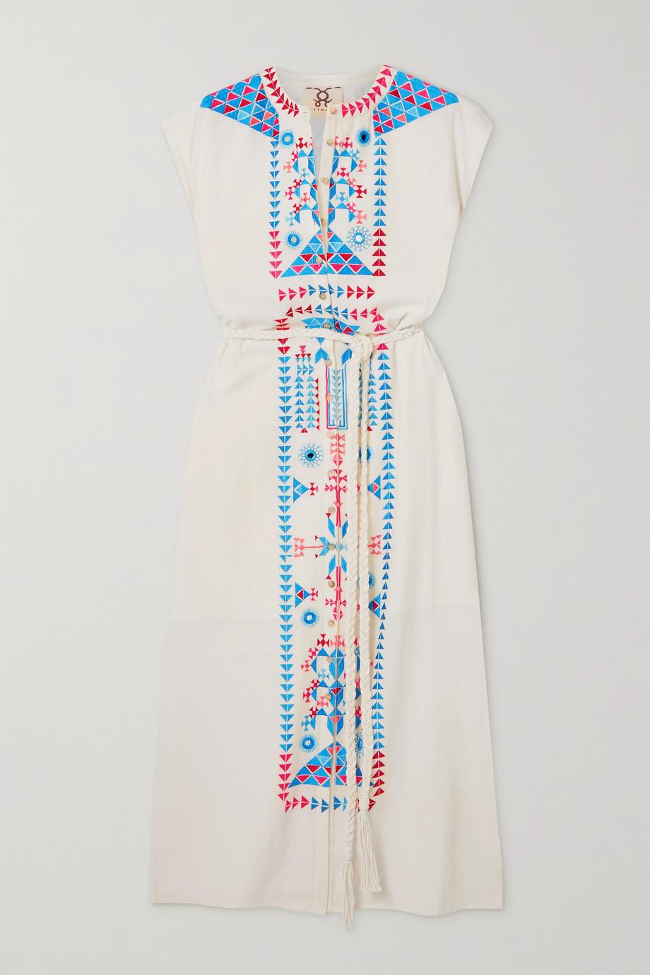 Figue Kari Midikleid aus Baumwolle mit Stickereien und Bindegürtel