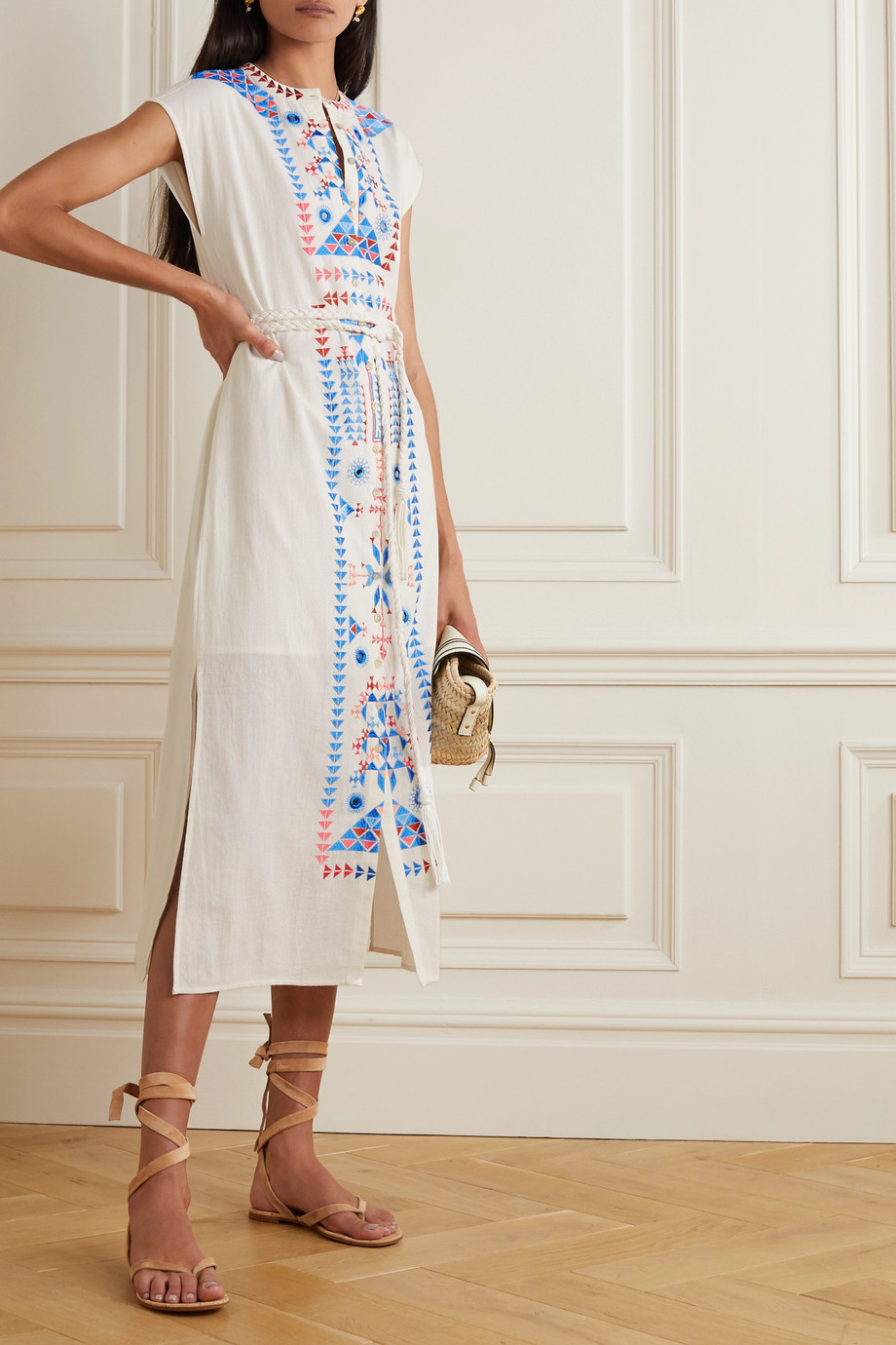 Figue Kari belted embroidered cotton midi dress