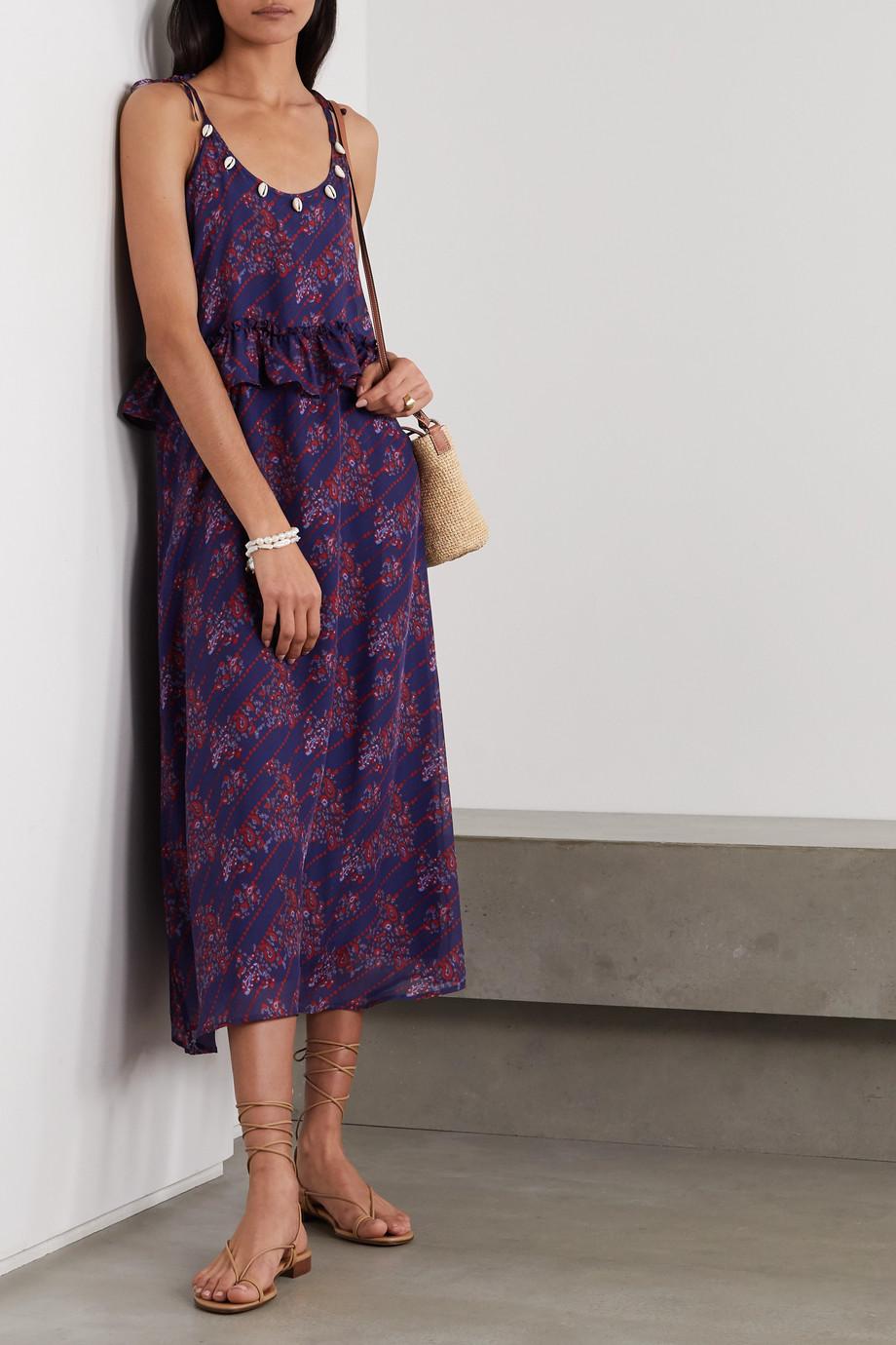 Figue Alina shell-embellished printed silk-chiffon dress