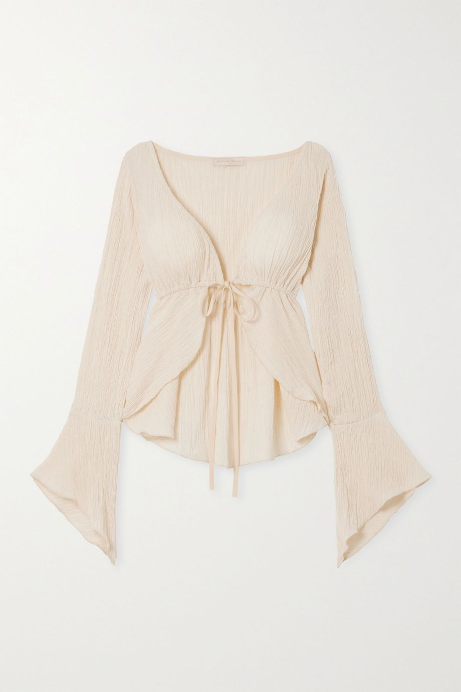 Savannah Morrow The Label The Flow tie-front crinkled organic cotton-gauze top
