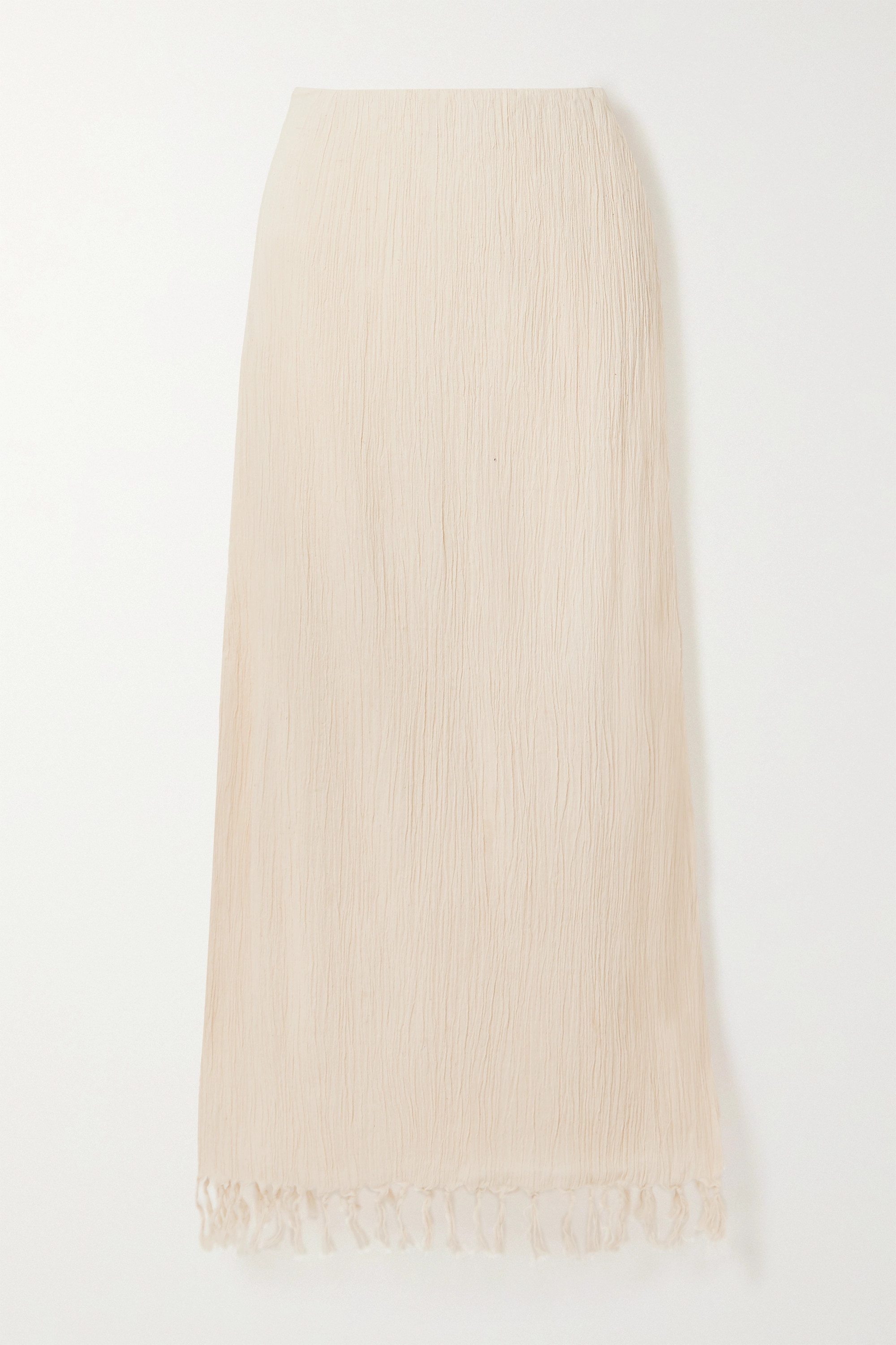 Savannah Morrow The Label The Jaya fringed crinkled organic cotton-gauze maxi skirt