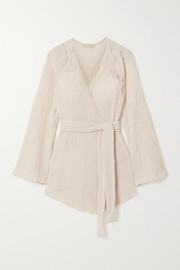 Savannah Morrow The Label The India belted crinkled organic cotton-gauze kimono