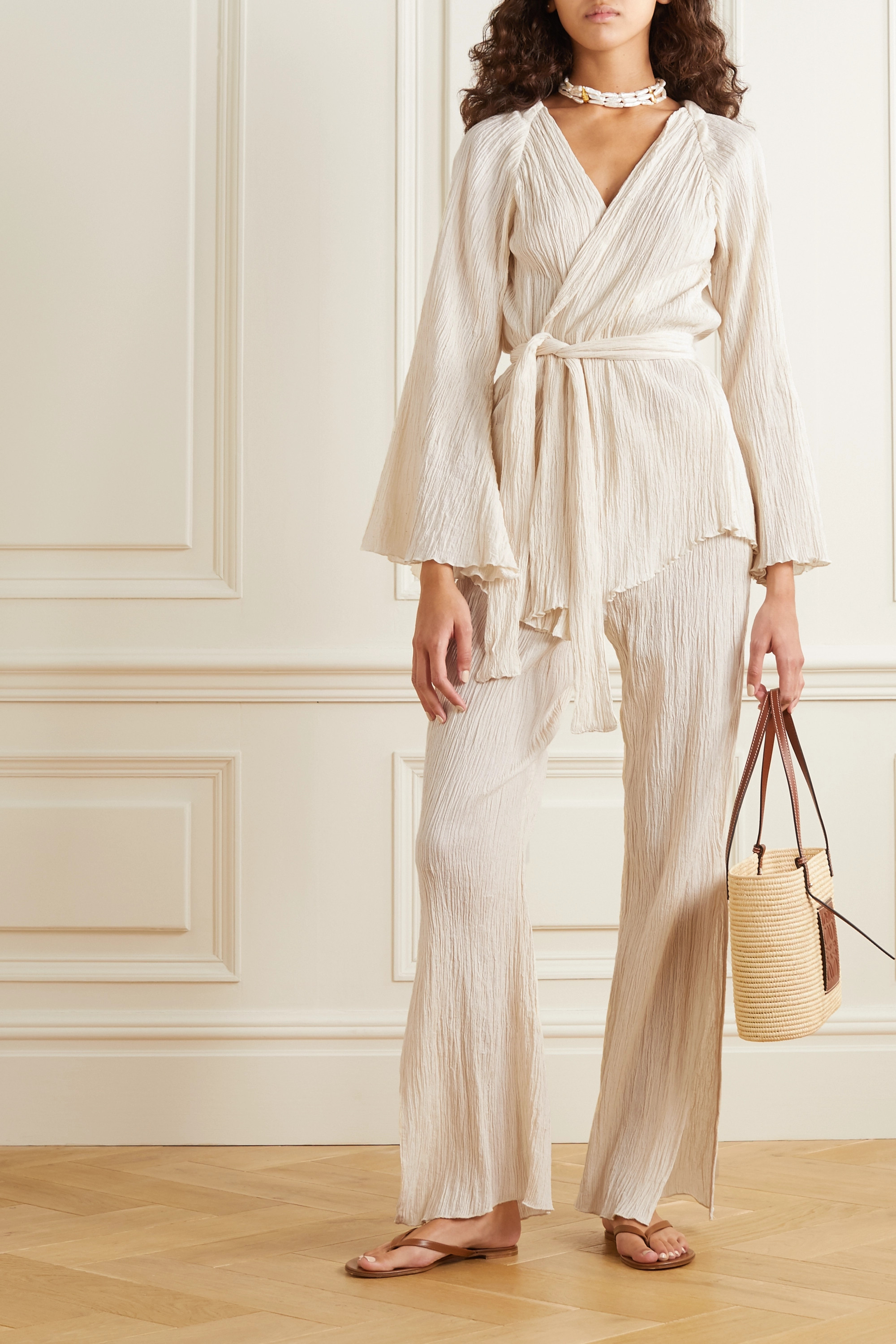 Savannah Morrow The Label The Vidya crinkled organic cotton-gauze pants