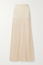 Savannah Morrow The Label The Pia tiered crinkled organic cotton-gauze maxi skirt