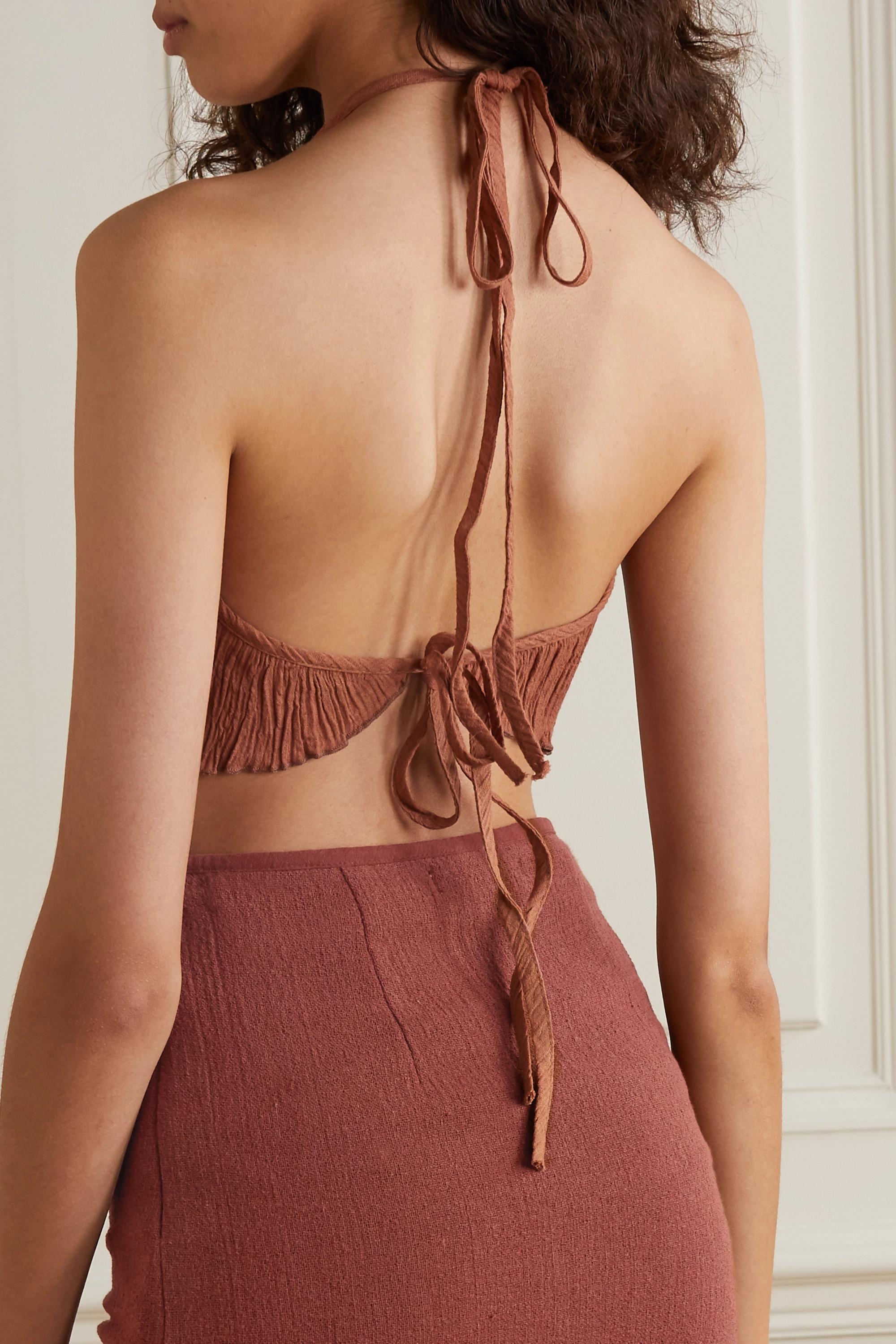 Savannah Morrow The Label The Jaya crinkled organic cotton-gauze halterneck top