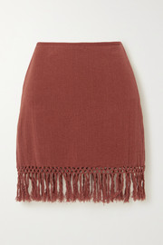 Savannah Morrow The Label The Jasmine fringed macramé ramie mini skirt