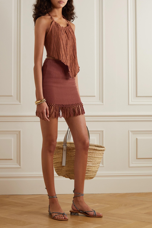 Savannah Morrow The Label The Jasmine fringed macramé ramie mini skirt