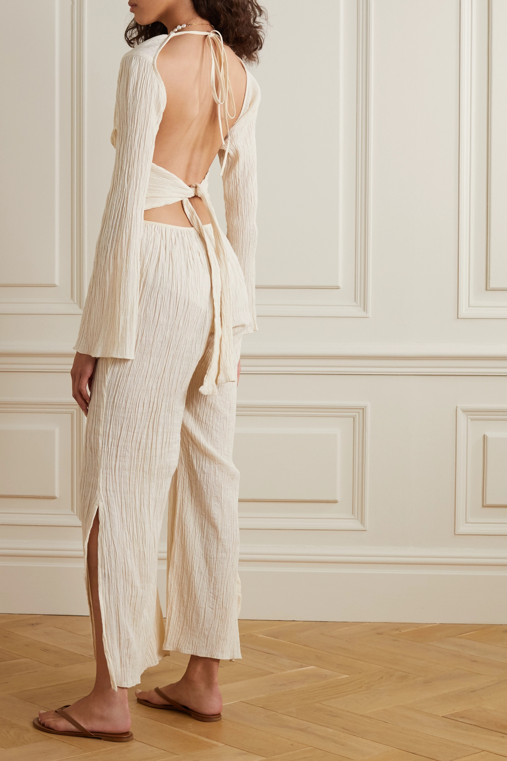 Savannah Morrow The Label The Oasis crinkled organic cotton-gauze jumpsuit
