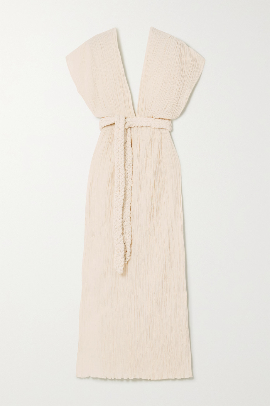 Savannah Morrow The Label The Kamala belted crinkled organic cotton-gauze midi dress
