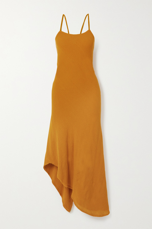Savannah Morrow The Label The Morocco asymmetric crinkled ramie midi dress