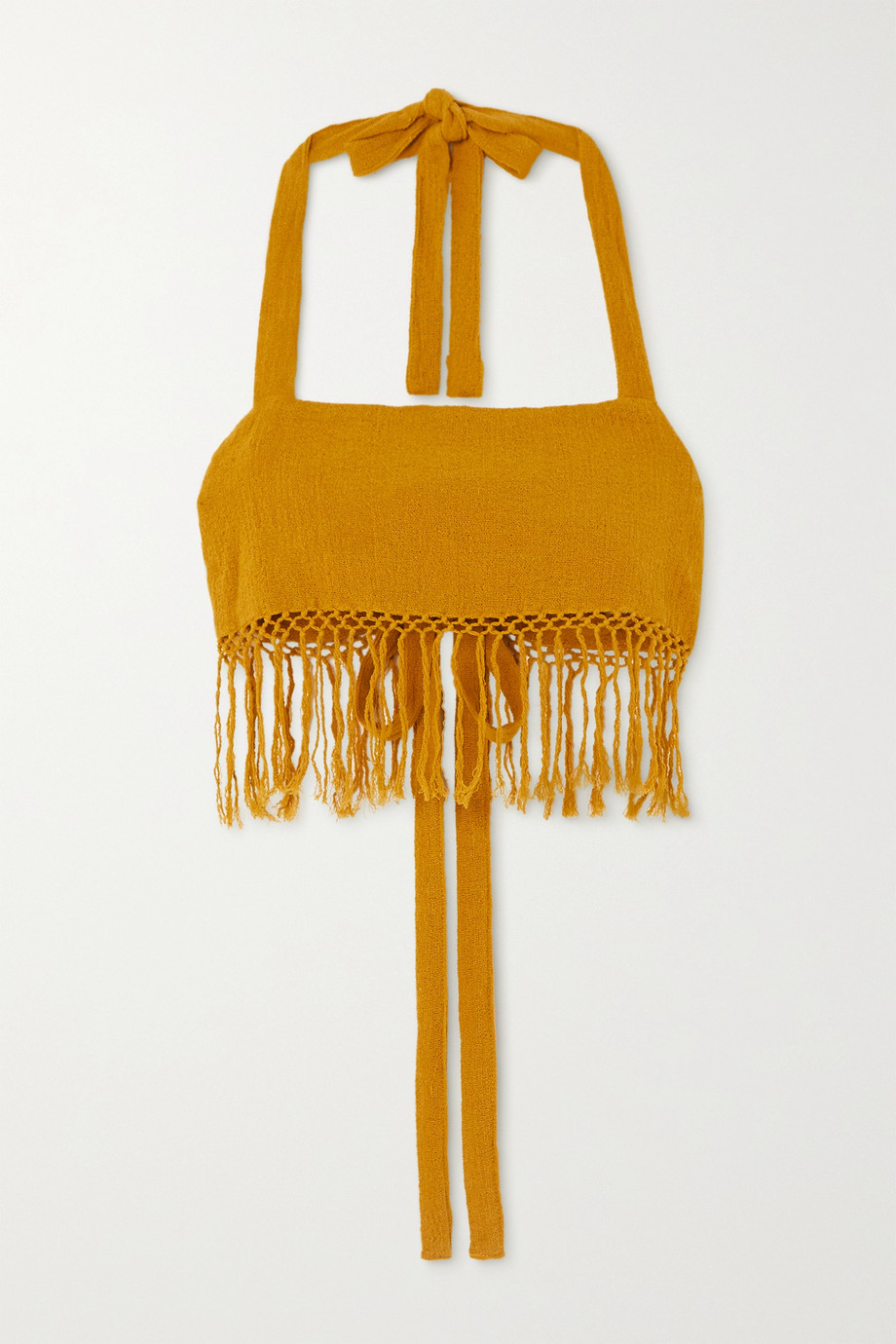 Savannah Morrow The Label The May cropped fringed ramie halterneck top