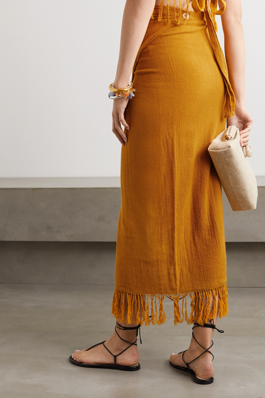 Savannah Morrow The Label The Desert fringed ramie wrap midi skirt
