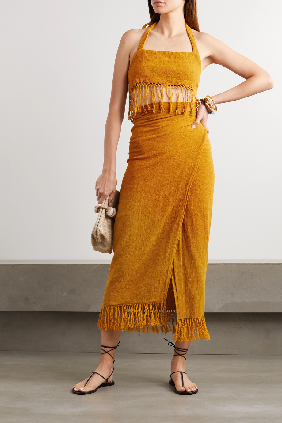 Savannah Morrow The Label The Desert fringed ramie wrap midi skirt
