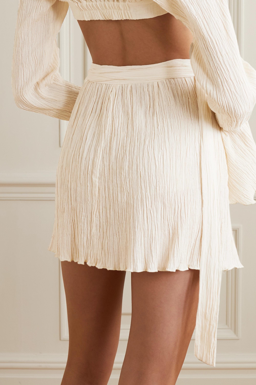 Savannah Morrow The Label The Hayi crinkled organic cotton-gauze wrap mini skirt
