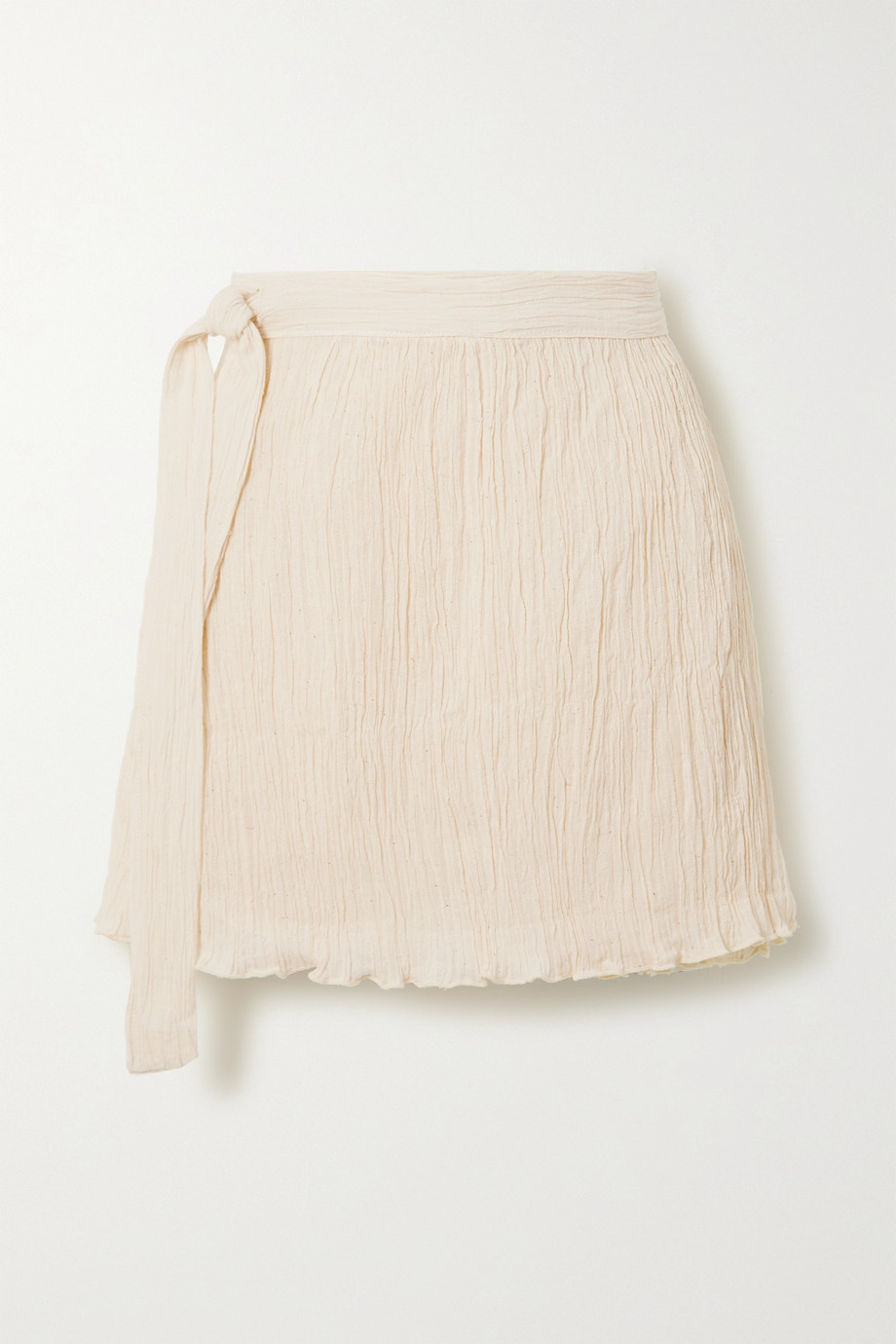Savannah Morrow The Label The Hayi crinkled organic cotton-gauze wrap mini skirt